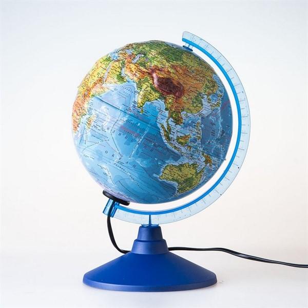 Глобус физико-политический рельефный с подсветкой d=21 см